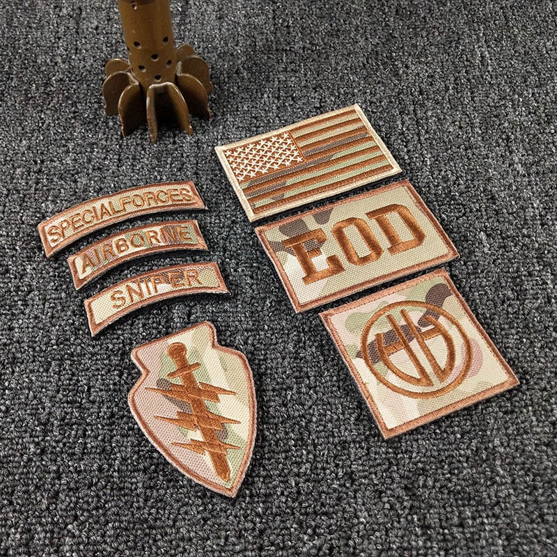 T-N Embroidery Velcro Patches Cloth Stickers Action Recognition D82 Airborne Eagle EOD Army Armband Shoulder Badge Appliques