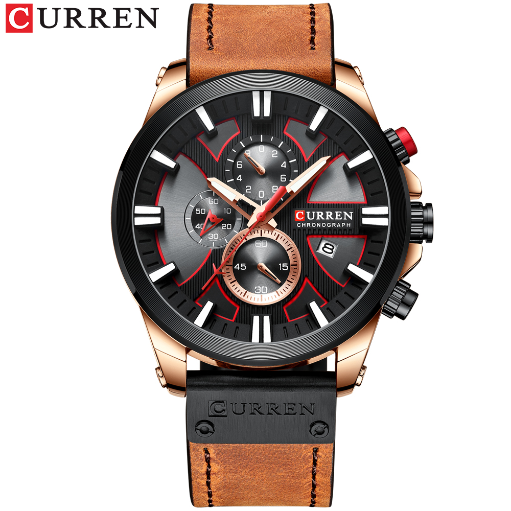 CURREN Luxury Watch Chronograph Sport Mens Watches Quartz Leisure Clock Leather Male Wristwatch Relogio Masculino Gift For Men