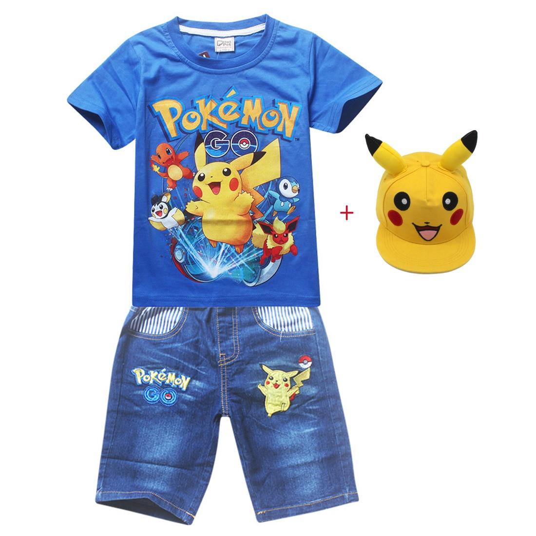Kids Pokemon Summer Boy Cotton Clothing Sets Pokemon Short Sleeve T-Shirt Jeans Set Boys Cartoon Pikaqiu Baby Sport Pikachu Suit