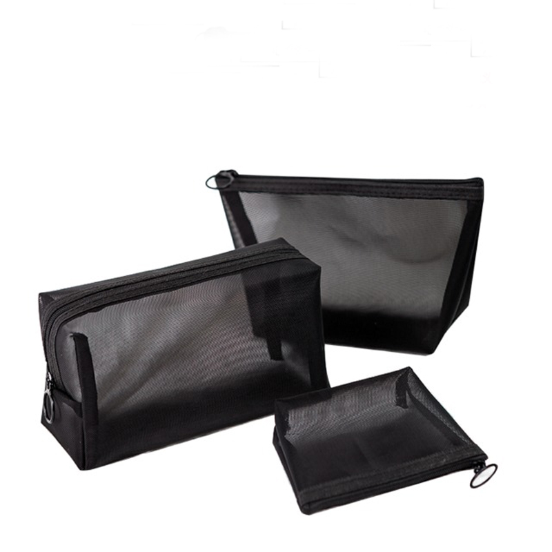 Women Travel Cosmetic Bag Casual Zipper Make Up Transparent Mesh Makeup Case Organizer Storage Pouch Toiletry Beauty Wash Bags