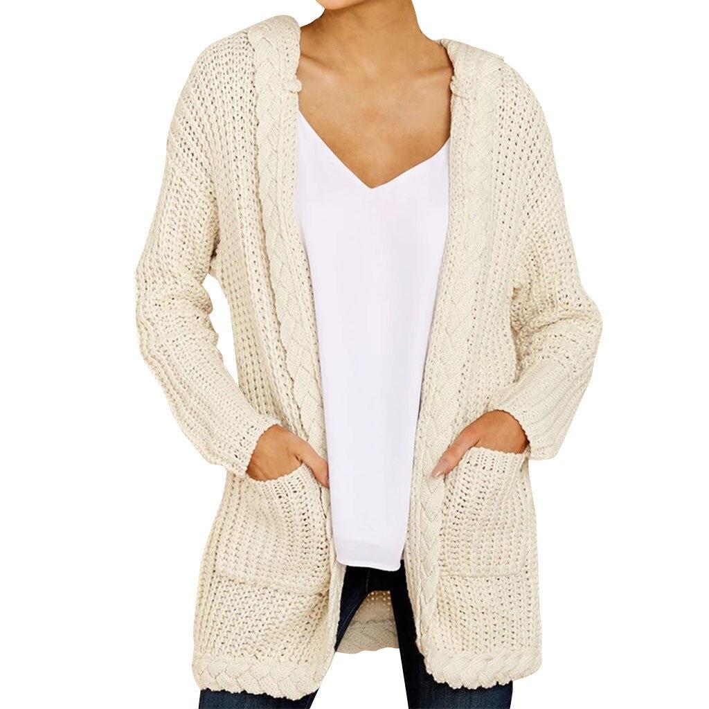 fea5e1332a9c Sueter mujer invierno 2019 mujeres con capucha tejido Cardigan abrigo  suéter de manga larga suelto tejido Outwear pull femme invierno