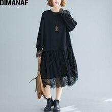 DIMANAF sukienka damska plus size z długim rękawem bawełna koronkowa, łączona Fashion Lady elegancka Vestidos ubrania damskie plisowana luźne, jesienne