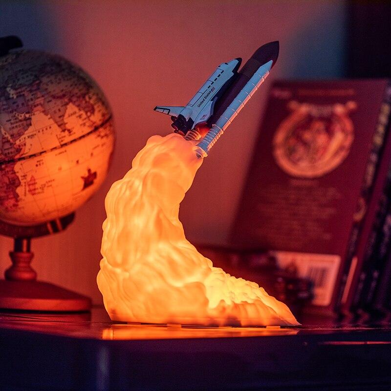 2019 Neue Dropship 3D Druck Raum Shuttle Lampe Nacht Licht Für Raum Fans Mond Lampe Rakete Lampe Als Raum Dekoration