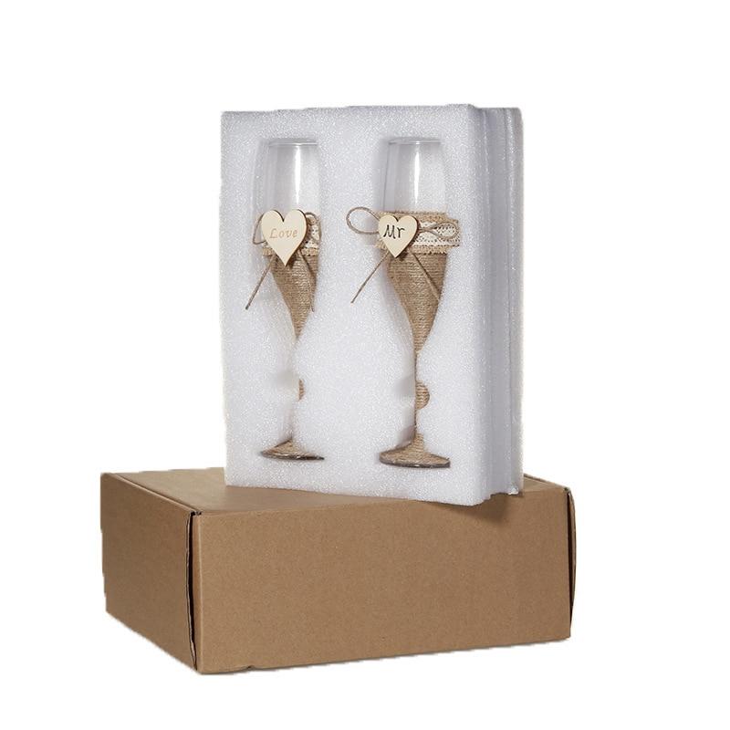 2Pcs Set Wedding Glass Personalized Wedding Glasses Wedding Champagne Toasting Flutes Burlap Lace Rustic Flutes