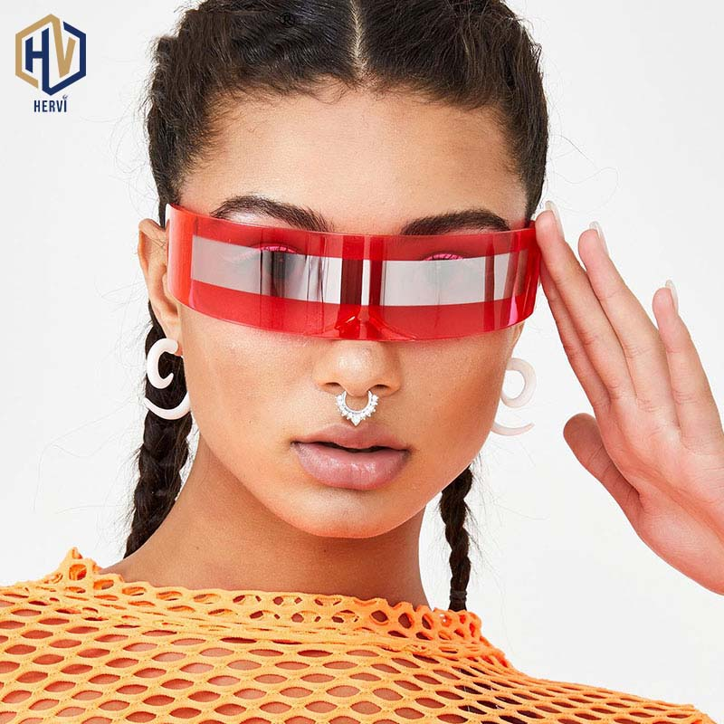 Fashion Siamese Futuristic Wrap Around Monob Costume Sunglasses Luxury Brand Designer Mask Novelty Glasses Purple Blue Goggle