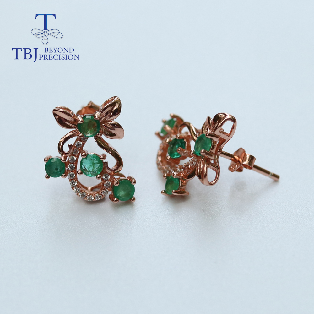 925 Pure Sterling Silver Girl/'s Pretty Drop Earrings Dyed EMERALD Gems
