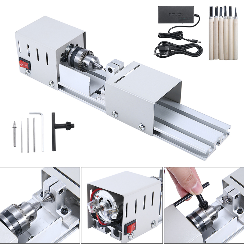 Mini Wood Lathe Machine DC12-24V Milling Lathe Set Standard Bead Machine with Power Carving Cutter Grinding Polishing Drill Tool