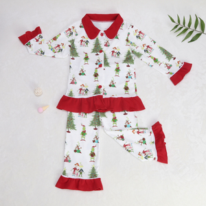 Image 2 - Baby Christmas pajamas Pattern T Shirts Childrens Sets Girls Dresses Pants Outerwear & Coats Family Matching Sleep clothes