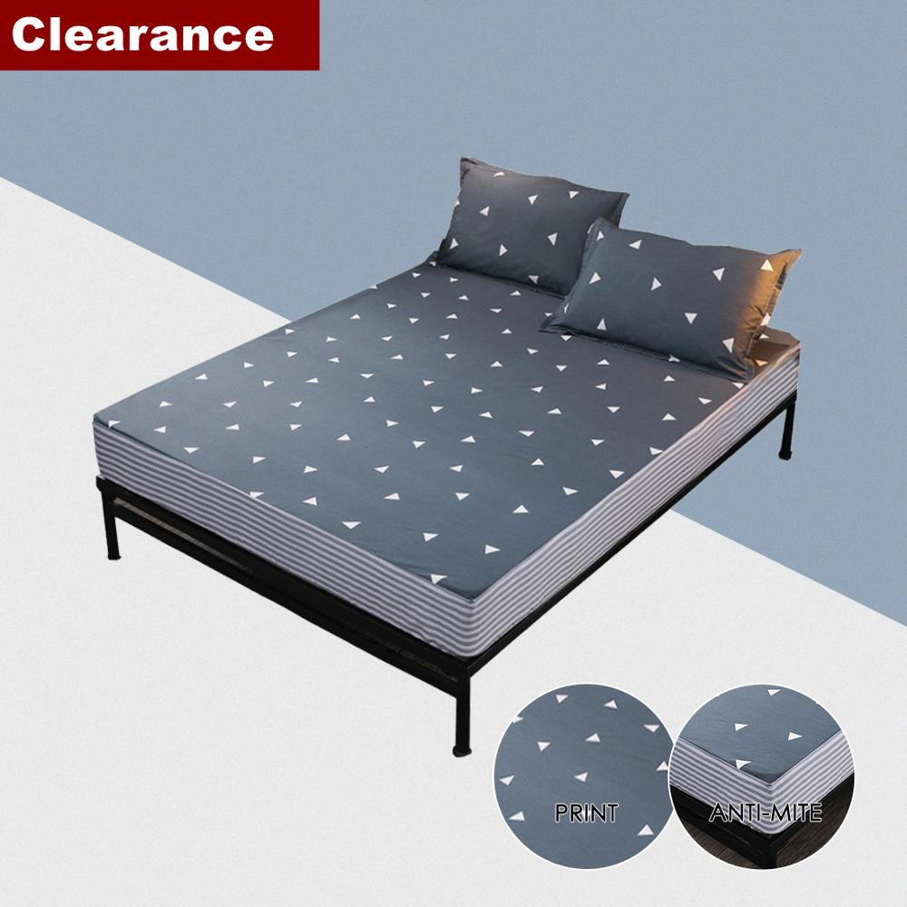 Bed Sheet Fitted Sheet Set Queen Single Mattress Cover Bed Linen Floral Print Solid Grey 90/160*200cm Clearance Sale
