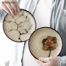 1 uds. Vintage flor de la planta redonda plato de cerámica western steak ensalada postre pastel sushi almacenamiento de cocina hogareña plato decorativo