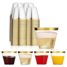 100PCS Environmentally Friendly And Practical Wedding Party Gold Bronzing Plastic Cup Disposable
