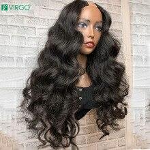 Virgo объемные волнистые u-образные парики для женщин перуанские объемные волнистые человеческие волосы парики 150% плотность средние u-образны...