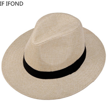 2020 Summer Unisex Sun Hat Casual Fedora Beach Vacation Panama Straw Hat Wide Brim Beach Jazz Hats