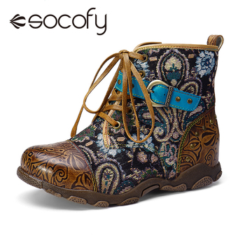 SOCOFY Women Genuine Leather Splicing Lace Buckle Comfy Warm Flat Ankle Boots Vintage Bohemian Ankle Boots Ladies Autum Shoes