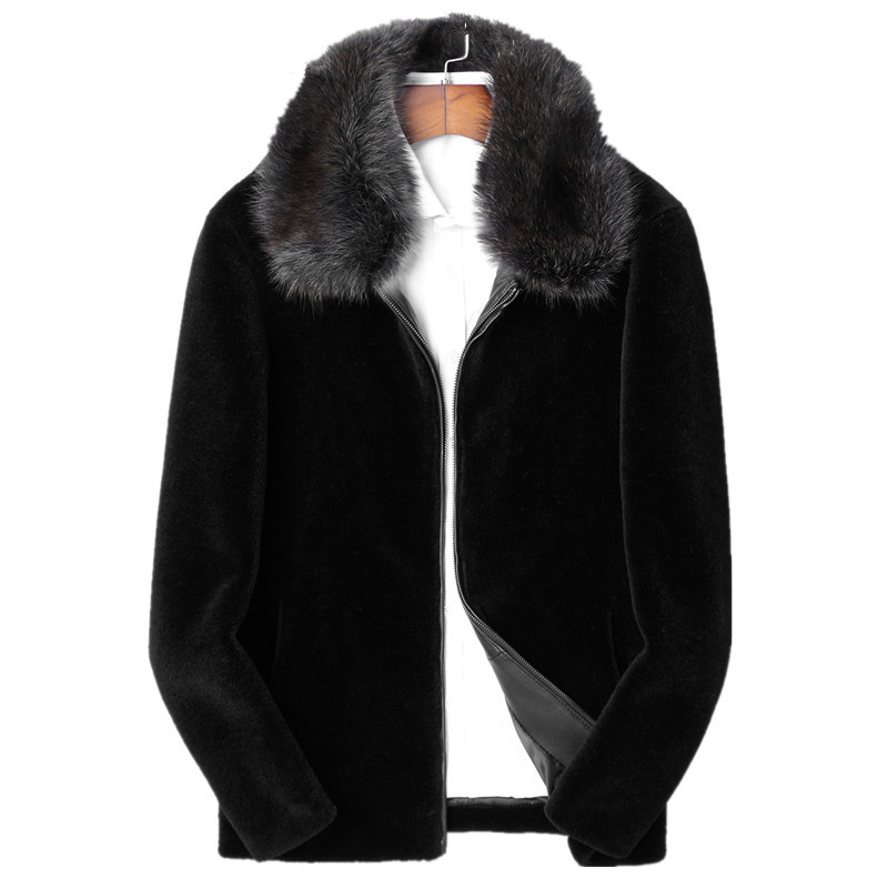 Real Sheep Shearling Fur Coat Winter Jacket Men Raccoon Fur Collar 100% Wool Fur Coats Plus Size 4xl Manteau LSY088305 MY1820