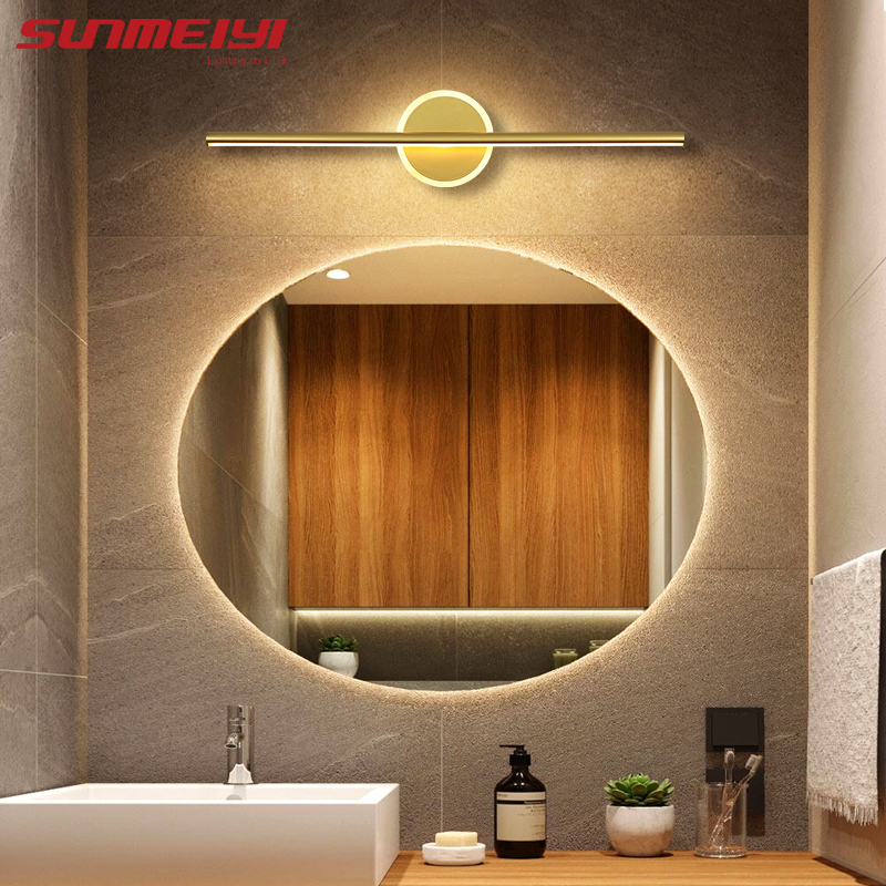 Modern LED Wall Lamp Bathroom Mirror Light Aluminum Gold White Washroom Front Mirror Lamp Fixtures Makeup For Bedroom Bedside