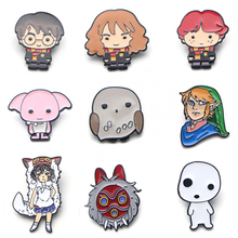 V110 Wizard Student and Princess Mononoke Metal Enamel Pins and Brooches Fashion Lapel Pin Backpack Bags Badge Collection Gifts v134 home alone metal enamel pins and brooches fashion lapel pin backpack bags badge collection gifts