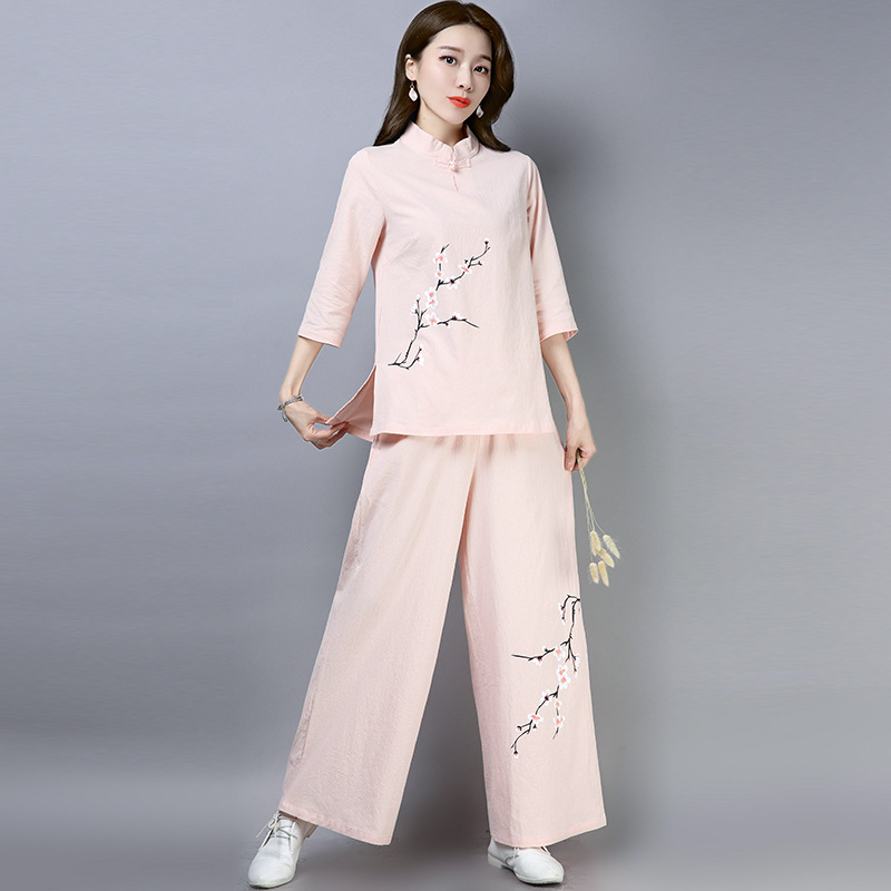 2019 Summer New Style Ethnic-Style WOMEN'S Dress Retro Chinese Style Cotton Linen Tea Service Hand-Painted Meditation Clothing L