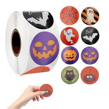 Ręcznie robione z miłością naklejki Scrapbooking ręcznie robione ręcznie LabelHalloween naklejki wykwintne kolorowe naklejki paski tanie i dobre opinie CN (pochodzenie) Z tworzywa sztucznego Halloween stickers Self-adhesive 2 5 1inch cm in diameter 500 pieces in a roll