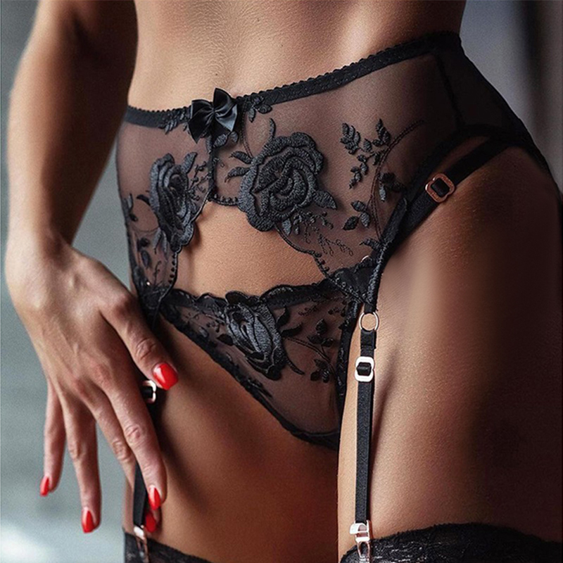 Lace Garter Belt Underwear Stockings Sexy Lingerie Waist Transparent Double-Breasted