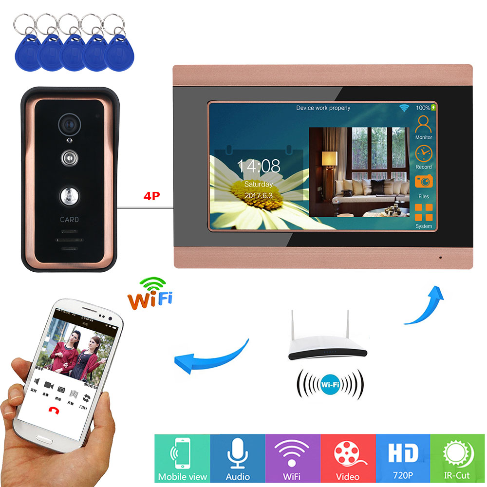 MOUNTAINONE 7 Inch Wired / Wireless Wifi RFID Video Door Phone Doorbell Intercom System With  AHD 720P Camera