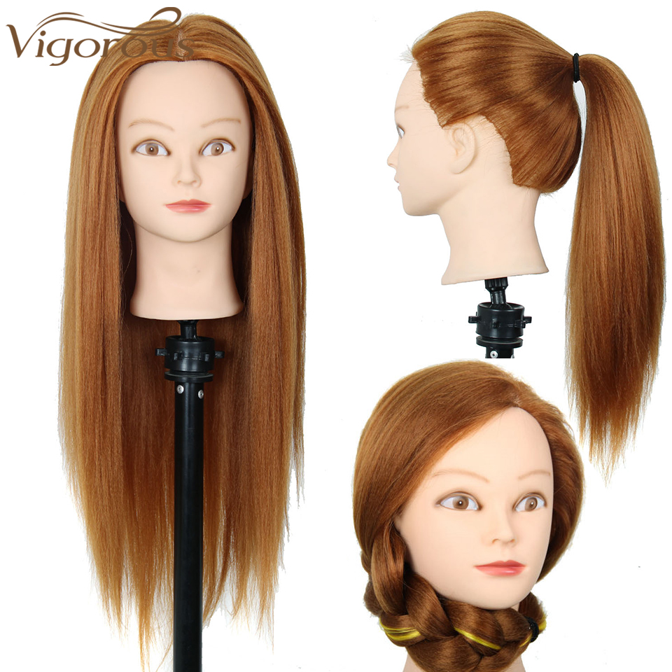 Vigorous Professional Training Head With Hair Synthetic Yaki Hair Mannequin Head Haristyle Female Mannequin Haridressing Styling