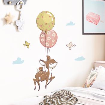 Kolor ściana z balonami naklejki naklejki do pokoju dziecięcego kreatywne kreskówki zwierząt przedszkole naklejki Home Decor tanie i dobre opinie DKtie CN (pochodzenie) Płaska naklejka ścienna cartoon Na ścianę Naklejki na meble naklejki okienne Jednoczęściowy pakiet
