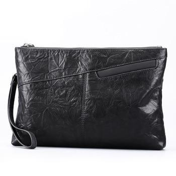 Hot selling Men's New Style Handbag Full-grain Sheepskin Leather Large Capacity fashion Clutch Bag Casual Clutch bag