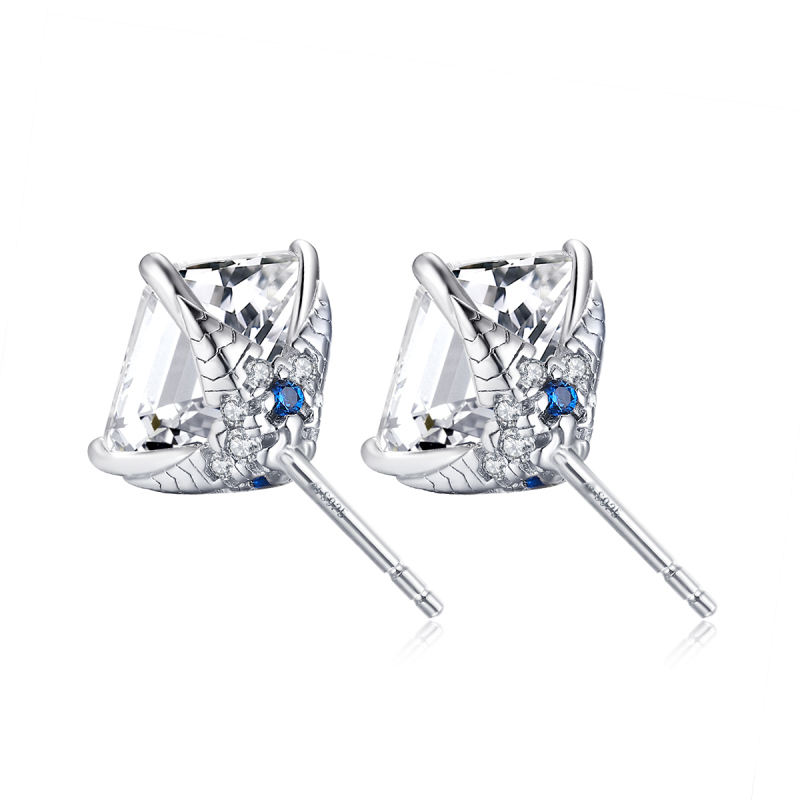 QYI Korean Silver Color Crystal Square Earrings For Women Vintage Party Wedding Jewelry Fine Jewelry