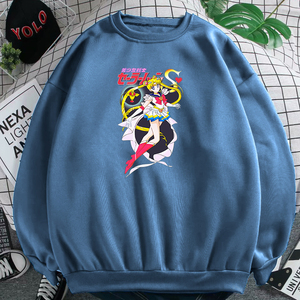 Cute Sailor Moon Print Warm Women O-Neck Sweatshirt Fleece Oversized Womens Clothing Harajuku Aesthetic Hoodies For Teen Girls