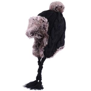 Image 3 - Bombacı şapkalar kadınlar kış yün kasketleri kaşmir kış kulaklığı şapka Faux tavşan kürk ponpon rus Ushanka Trapper polar kar kayak kapaklar