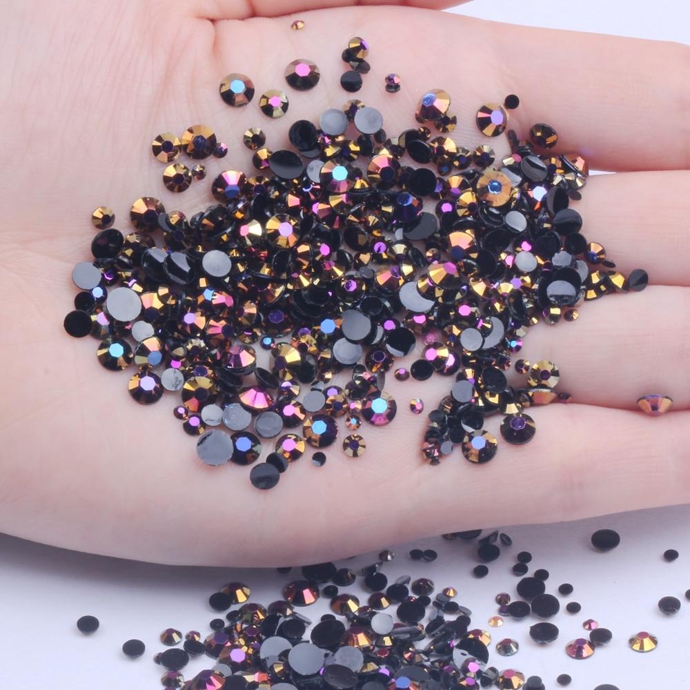 Стразы из смолы 2-6 мм и смешанные размеры золотой и черный AB не горячей фиксации блеск для ногтей художественный рюкзак DIY Дизайн украшения