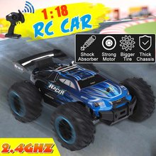 RC Car Full Proportion Monster Truck 1:18 2.4G 40+km/h Off Road Pickup High Speed Car Big Foot Vehicle Electronic Hobby Toy