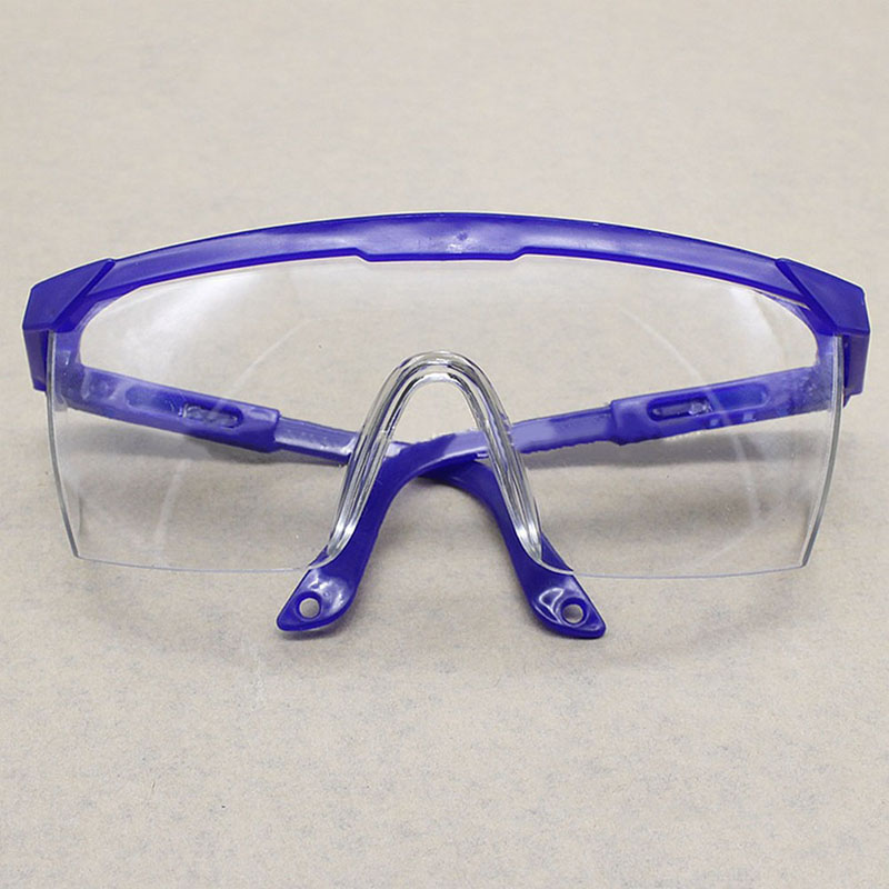 Blue And White Telescopic Legs Labor Insurance Glasses Dust-proof Anti-shock Eyepiece Flat Transparent Blindfold