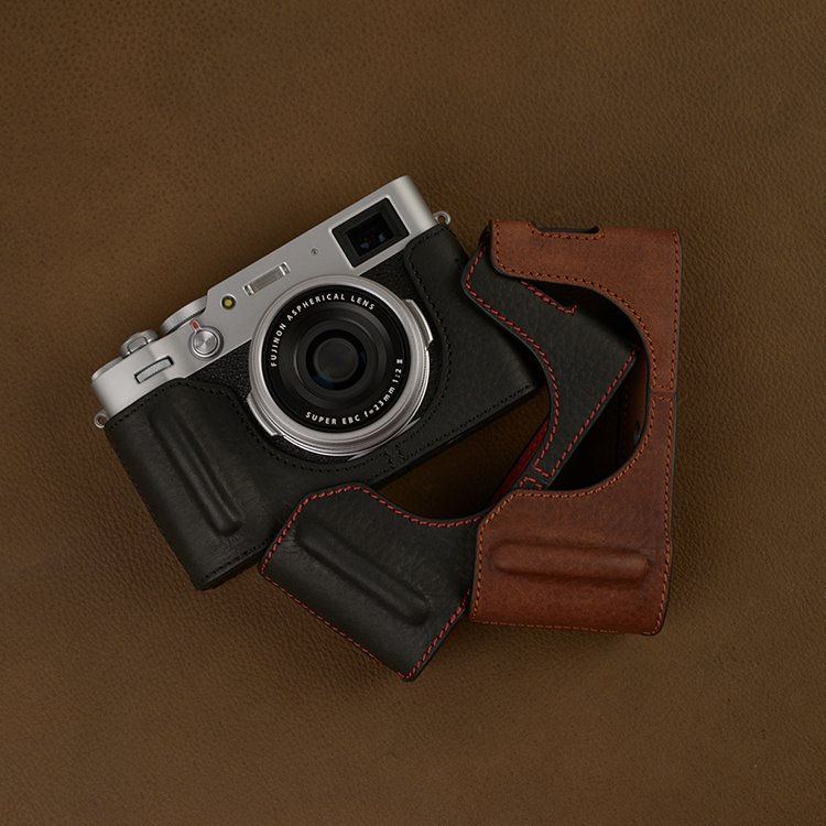 Handwork Photo Camera Genuine Leather Cowhide Bag Body BOX Case For Fujifilm Fuji X100v X-100V Protective Sleeve Box Base