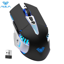 Rechargeable Bluetooth Wireless Gaming Mouse, Multi-Device(BT5.0/3.0+2.4G) Mice with LED Light for PC Computer Laptop Mac Tablet