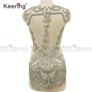 Image 2 - On line di un personaggio famoso argento tessuto di strass corsetto di applique per il vestito da sera pannello WDP 266