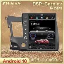 Autoradio Android 10.0, 4 go/64 go, écran vertical type Tesla, GPS, lecteur multimédia, stéréo, unité centrale, pour voiture Honda civic (2008 – 2011)