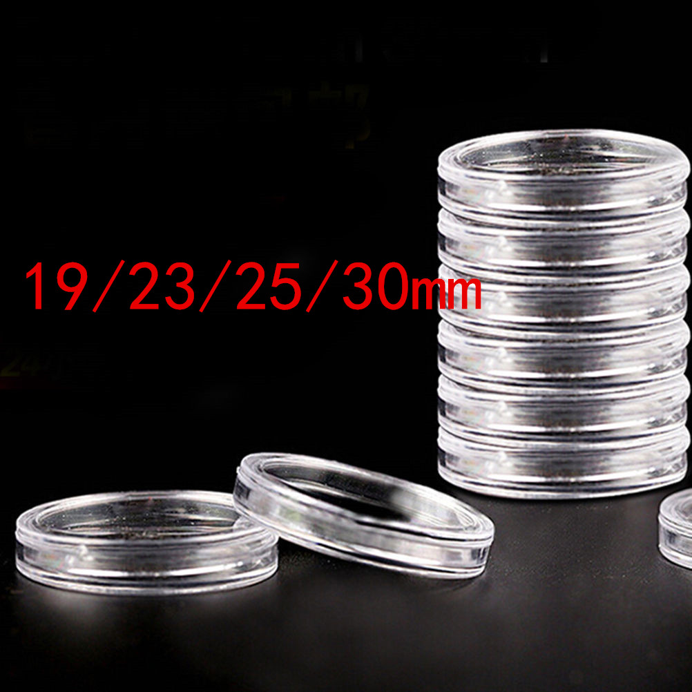 Útil 10 unidades/pacote cápsulas de moedas transparentes artesanato recipientes armazenamento/coleção caixas suportes diâmetro 19/23/25/30mm redondo|Cestos e caixas de armazenamento|   -