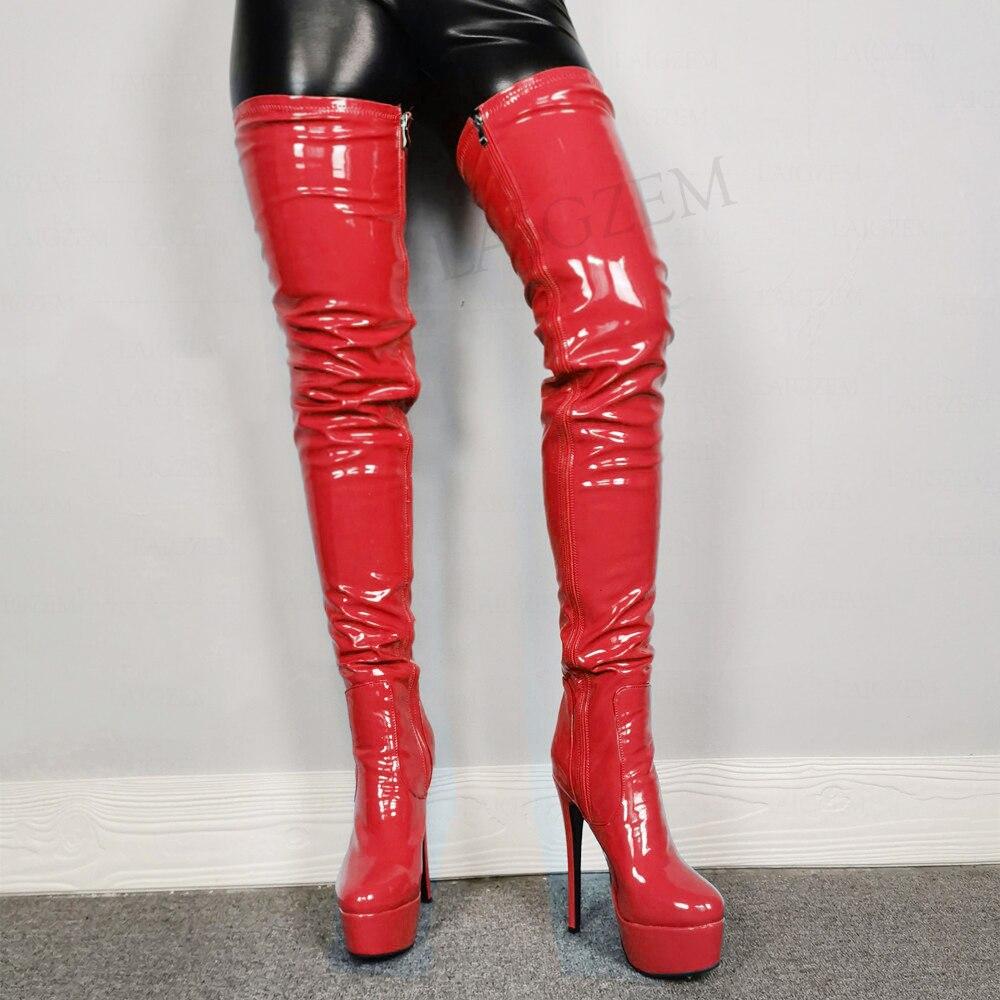 LAIGZEM – Bottes à semelle haute pour Femmes, chaussures de Cosplay, brillantes, pour Club de fête, grande taille 44 48 50 52