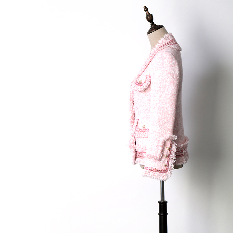 ผู้หญิง slim พู่ lurex tweed เสื้อ V คอฤดูใบไม้ผลิฤดูใบไม้ร่วงไข่มุกสีชมพูกระเป๋าสั้นลำลองสุภาพสตรี OL ขนสัตว์แจ็คเก็ต-ใน แจ็กเก็ตแบบเบสิก จาก เสื้อผ้าสตรี บน   2