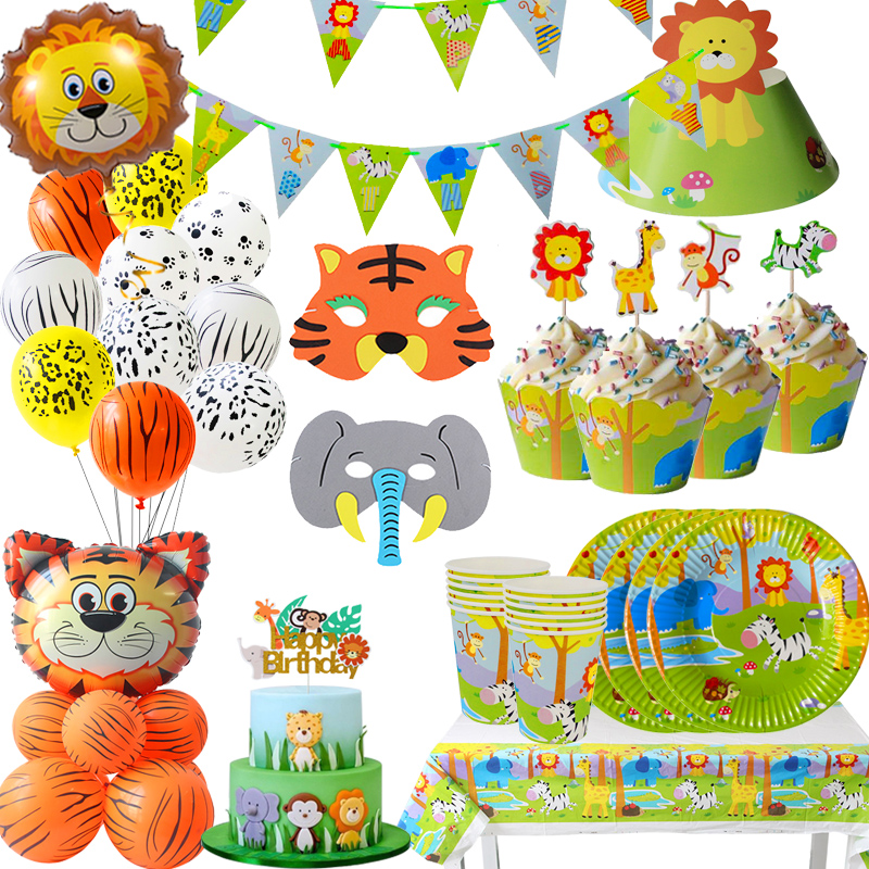 Joy-Enlife Jungle party Decor Disposable tableware Animal Cake topper Banners balloon mask child Birthday party decor(China)