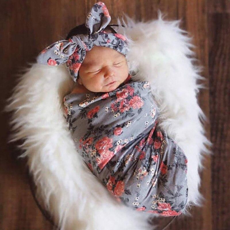 Recém-nascidos Encantadores Impressão Cinza Floral Infantil Do Bebê Saco Do Bebê Saco de Dormir Do Bebê Headband Bebê Recém-nascido Swaddling Dropshipping