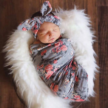 Newborn Lovely Floral Print Gray Infant Baby Swaddling Sleeping Bag Sack Headband Dropshipping
