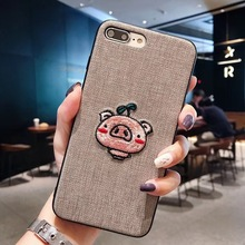 High-grade embroidery Cute Cartoon Pig Cases  For iphone XR X XS Max 6 6S 7 8 Plus Girl Fashion Phone Case NEW
