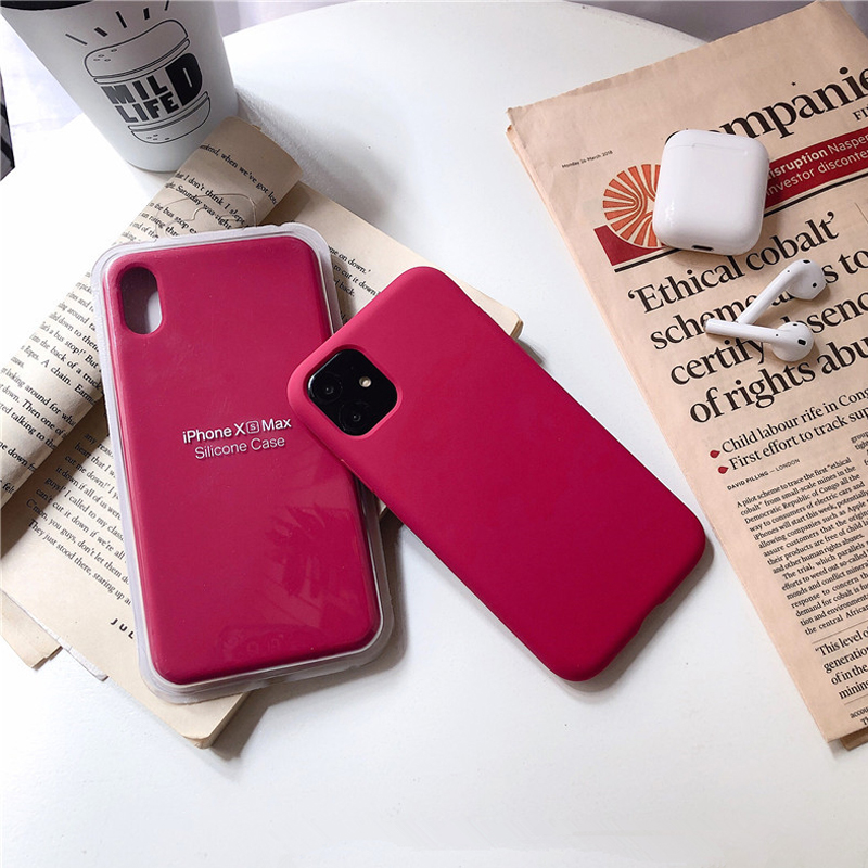Rose Pink <font><b>Original</b></font> Liquid Silicone Phone <font><b>Case</b></font> For <font><b>iPhone</b></font> 11 <font><b>Case</b></font> Full Protective Cover For <font><b>iPhone</b></font> 11 Pro Max 8 7 <font><b>6S</b></font> Plus X XR XS image