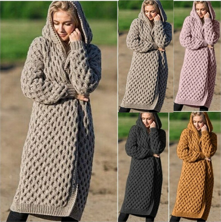 Women's Hooded Knitted Sweater Cardigan Coat Winter Thick Hooded Knitted Outerwear Warm Sweater Long Open Stitch Coats