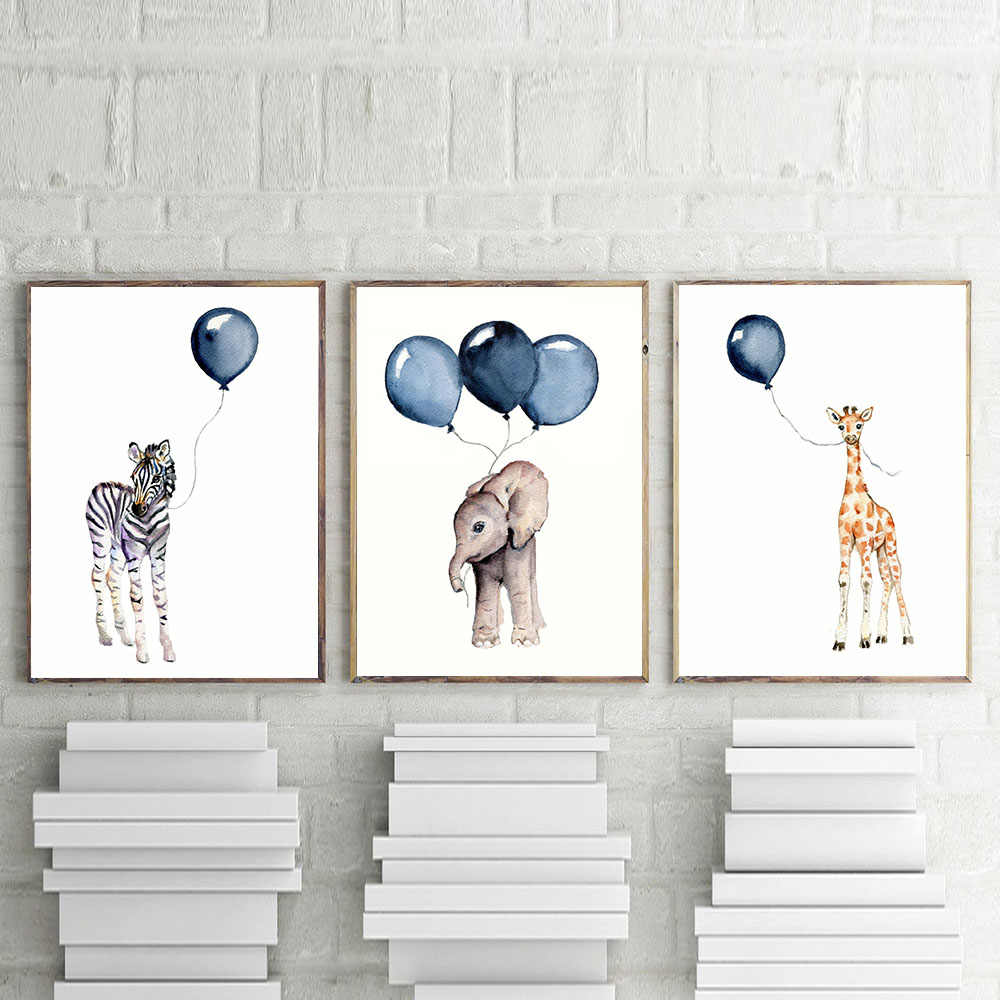 Nursery Wall Art Boy Decor Gifts Baby Animal Elephant Zebra Giraffe with Navy Blue Balloon Posters Watercolor Children's Prints