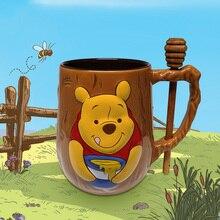 2021 New Disney Fashion Cartoon Cute Winnie the Pooh Ceramic Mug New Product Anime Cute Mug with Stirring Spoon