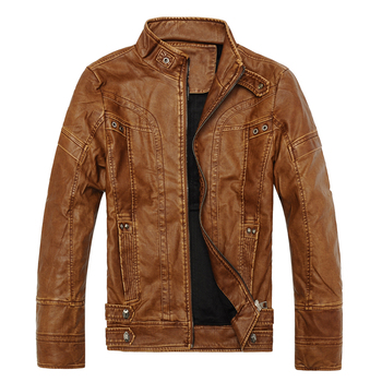 Motorcycle Leather Jacket Mens Spring Autumn Style Plus Size XXXL Fashion PU Leather Thick Coat Male M-3XL Black Brown Yellow